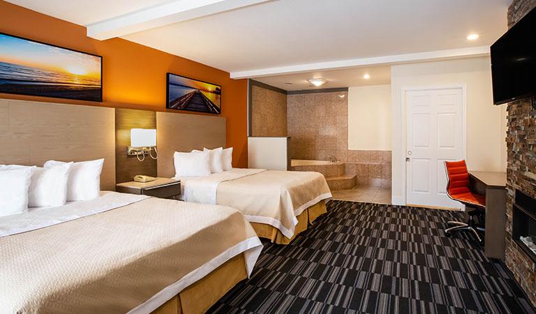 jacuzzi fireplace 2 queen beds suite monterey downtown california